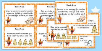 EYFS Superhero Themed Sand Area Challenge Cards - superhero