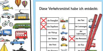 Diese Verkehrsmittel Habe ich entdeckt Transport Themed I Spy With My Little Eye Activity German - german, activity, transport, i spy