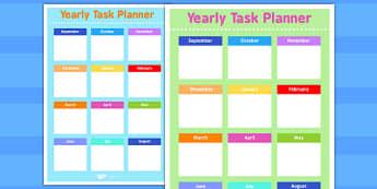 Yearly Task Planning Sheet - planning, task, sheet, yearly, plan
