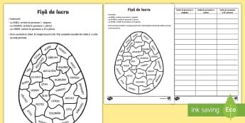 Oul de Paști Colorează după persoana verbului - Paște, Paste, Paști, Pasti, sarbatoare, romanian, fișă de lucru, ou, ouă, verbe, numărul și p