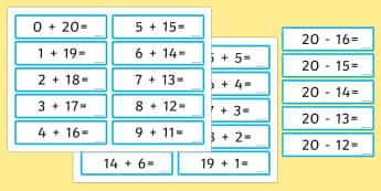 Number Bonds 20 Sentence Cards - number bonds, 20, sentence cards, sentence, cards, numbers, bonds, maths, mathematics