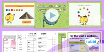 PlanIt Y3 Term 2A W1: Short /i/ spelt using 'y' Spelling Pack - Spellings Year 3, Y3, year 3, short i, short i using y, statutory, Y3 spellings, SPaG, GPS, weekly,
