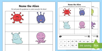 Phase 3 Phonics Name the Alien Cut and Stick Activity - phonics screening, grapheme, phase 3, phonics, phoneme, spell, write, make, words, names, aliens, mo
