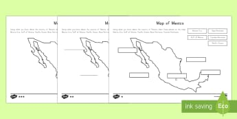 Differentiated Map of Mexico Differentiated Labeling Worksheet - Cinco de Mayo Worksheet, Mexico, Labeling, Geography, Social Studies, KS2, Capital, Mexico City, worksheets