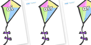 Phase 3 Phonemes on Kites - Phonemes, phoneme, Phase 3, Phase three, Foundation, Literacy, Letters and Sounds, DfES, display