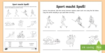 Sports Activity Sheet - German - Sports, German, Sportarten, German MFL, Languages, Hobbies