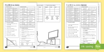 TV and Cinema - French Higher Tier Worksheet / Activity Sheet - revision, free time, culture, leisure, passe-temps,French, worksheet