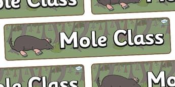 Mole Themed Classroom Display Banner - Themed banner, banner, display banner, Classroom labels, Area labels, Poster, Display, Areas