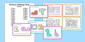 Perimeter Challenge Cards - challenge, cards, perimeter, area, maths, numeracy