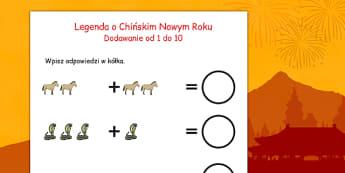 Arkusz Dodawanie liczb do 10 Chiński Nowy Rok po polsku - zima