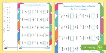 Understanding Products Based on Factors Activity Sheet - Products, Factors, fractions, mixed numbers, comparisons, worksheet