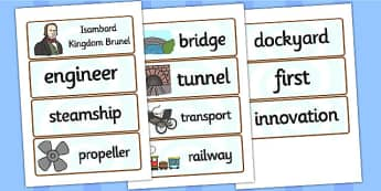 Isambard Kingdom Brunel Word Cards - brunel, word cards, keywords