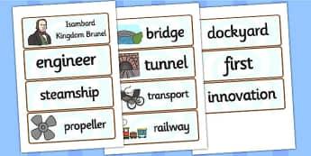 Isambard Kingdom Brunel Word Cards - brunel, word cards, keywords