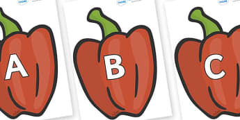 A-Z Alphabet on Peppers (Plain) - A-Z, A4, display, Alphabet frieze, Display letters, Letter posters, A-Z letters, Alphabet flashcards