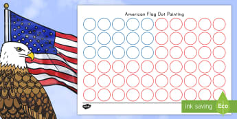 Flag Day USA Flag Dot Painting Activity Sheet - Flag Day, dot painting, finger painting, dot paint, usa, united states, america, stars and stripes,