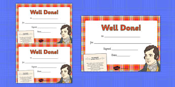Burns' Night Certificates - burns night, certificates, award, reward, scots, poetry