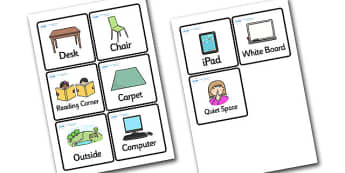 Where in the Room Word Cards - where in the room, cards, where, room, 4 per A4, classroom, games, reading, game cards, activities, cards about the room