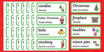 Christmas topic word cards Polish Translation - polish, christmas, topic, word cards, word, cards