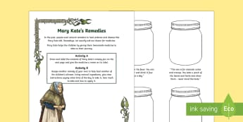 Under the Hawthorn Tree Mary Kate's Remedies Worksheet / Activity Sheet - Under the Hawthorn Tree, Famine, Marita Conlon McKenna, Reading Activity, Ireland, The Great Hunger,