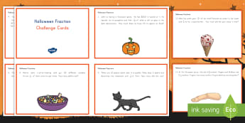More Halloween Multiplying Fractions by a Whole Number Challenge Cards - Math, Halloween, fractions, challenge cards