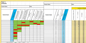 KS1 Mathematics Analysis Grid for 2016 SATs Past Paper Assessment Spreadsheet - KS1, mathematics analysis, grid, assessment grid, past paper 2016, maths paper, arithmetic, reasonin