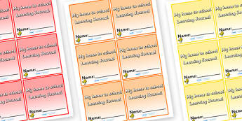 Size Editable Label My Home To School Learning Journey - learning journal, home to school, editable, journal, homework, work, school work, personal