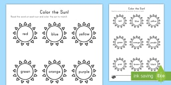 Color the Sun Activity Sheet - Summer, summer season, first day of summer, summer vacation, worksheet, summertime, sun, color words