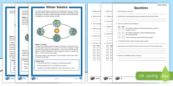 Winter Solstice KS2 Differentiated Reading Comprehension Activity - Yule, Yuletide, Midwinter, Christmas, Solstice, hemisphere, orbit, sun, seasons, sats practice, read