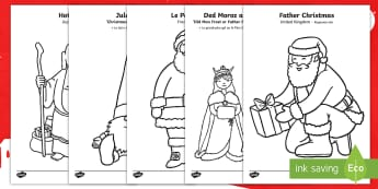Father Christmas Around the World Colouring Pages English/French - santa, santa claus, colouring, Chritmas, christmas aound the world, EAL French