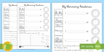 Ficha de actividad: Rutinas de la mañana en inglés - la mañana, rutinas, hora, ESL