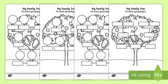 My Family Tree Activity Sheets English/Spanish - worksheet, Family tree, family tree template, my family, parent, mum, dad, grandparent, grandma, gra