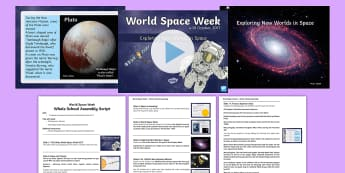 World Space Week Assembly Pack - Science, Astronaut, Explorer, Discover, NASA, Planets, Sputnik