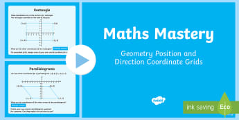 Year 6 Geometry Position and Direction Coordinate Grids Maths Mastery Activities PowerPoint - Year 6 Maths Mastery, Y6, KS2, coordinate grids, shape, shapes
