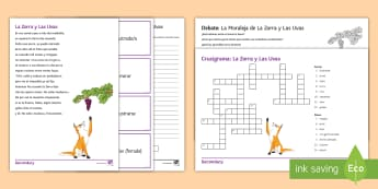 Spanish Literature Activity Pack to Support Teaching on 'La Zorra y Las Uvas' by Samaniego Spanish - literature, authentic, texts, fox, grapes, adjectives, Fable, moral