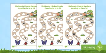 Differentiated Counting in 5s to 50 Minibeast Worksheet / Activity Sheets - 5s, multiplication, times tables, multiples, Worksheets, counting, fives