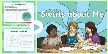 KS2 Swirls About Me PowerPoint - personality swirls, about me, art, creativity, words and art