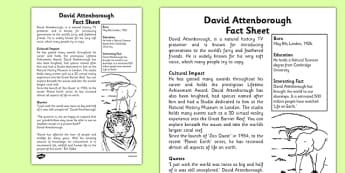 David Attenborough Significant Individual Fact Sheet - david attenborough, significant individual, fact sheet