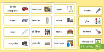 Classroom Word Cards - classroom, word cards, class, room, cards, vocabulary, supplies