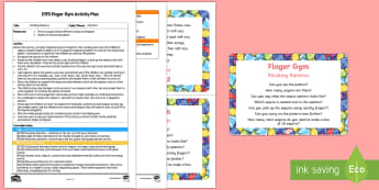 EYFS Pinching Patterns Finger Gym Plan and Prompt Card Pack - EYFS, Patterns, shape space measure, fine motor, funky fingers, pincer grip, patterns, repeating pat