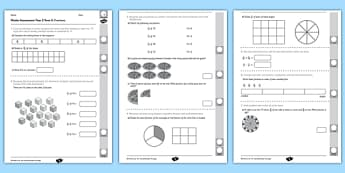 Year 3 Maths Assessment: Fractions Term 2 - year 3, maths, assessment
