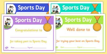 sports day effort certificates