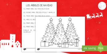 Ficha de actividad - Los árboles de Navidad - naviadad, árbol de Navidad, colorear, leer, lectura, colores, Spanish