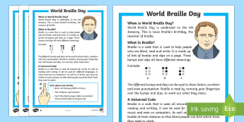 KS1 World Braille Day Differentiated Fact File - World Braille Day, Louis Braille, braille, code, visually impaired, blind, accident, sight, communic