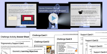 Home Cinema Planner Geometry and Ratio Project - Maths, KS3, KS4, Geometry, Angles, Trigonometry, Ratio, Scale Drawing, Project