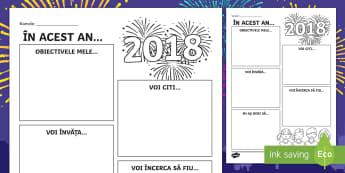 În noul an... Fișă de activitate - anul nou, noul an, an nou, 2018, 2019, 2020, scriere, rezolutii, obiective, Romanian