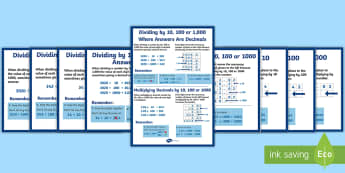 Multiplying and Dividing Decimals by 10, 100 and 1000 Display Posters -  X 10 100 1000, Multiplying and Dividing by 10, 100 and 1000, Decimals,  Display, Posters
