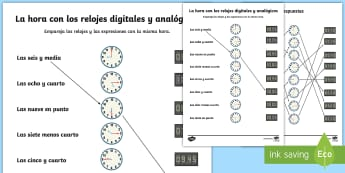 Digital and Analogue Clocks Worksheet / Activity Sheet - Spanish, KS2, vocabulary, time, what, clock, digital, analog, matching, activity, sheet, worksheet