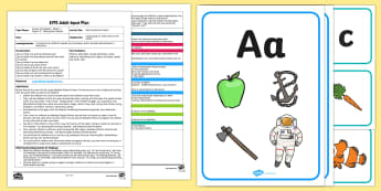 EYFS Name Alliteration Game Adult Input Plan and Resource Pack - EYFS Phase 1 Aspect 5: Alliteration, letters and sounds, phonics, name, games, activities, plans, le