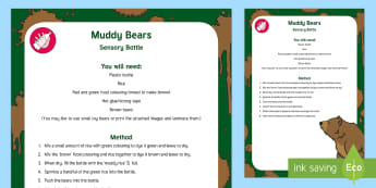 Muddy Bears Sensory Bottle - mud, sensory play, mess free play, baby play, toddler play, exploration, observation