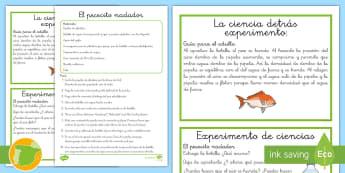 Experimento de Ciencias: El pececillo nadador - ciencia, Física, presiones, nemo, pez payaso,  infantil, primaria, botella, agua, ,Spanish